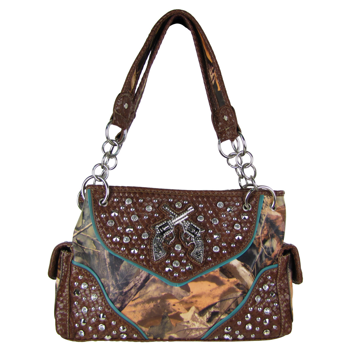 BROWN MOSSY CAMO STUDDED RHINESTONE PISTOL LOOK SHOULDER HANDBAG HB1-12860BRN