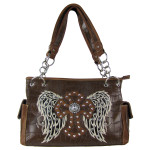 BROWN CROC STUDDED RHINESTONE STITCHED CROSS W/ WINGS  LOOK SHOULDER HANDBAG HB1-HL12380BRN