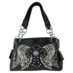 BLACK CROC STUDDED RHINESTONE STITCHED CROSS W/ WINGS  LOOK SHOULDER HANDBAG HB1-HL12380BLK