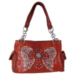 RED CROC STUDDED RHINESTONE STITCHED CROSS W/ WINGS  LOOK SHOULDER HANDBAG HB1-HL12380RED