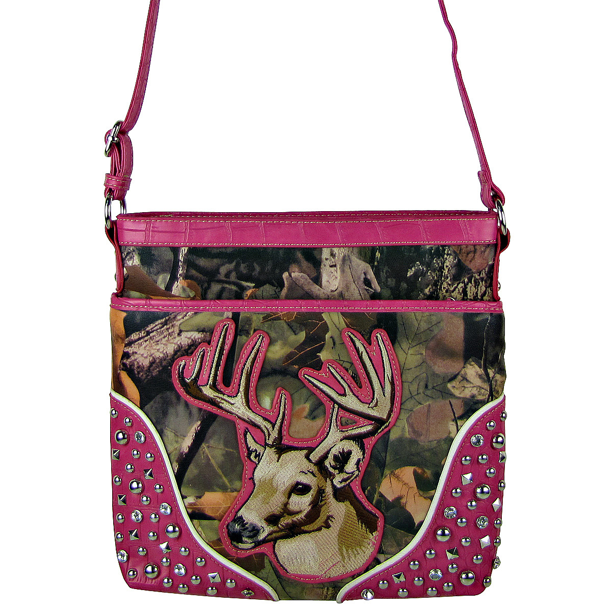 HOT PINK CAMO STUDDED RHINESTONE STITCHED DEER LOOK MESSENGER BAG MB1-HL12960HPK