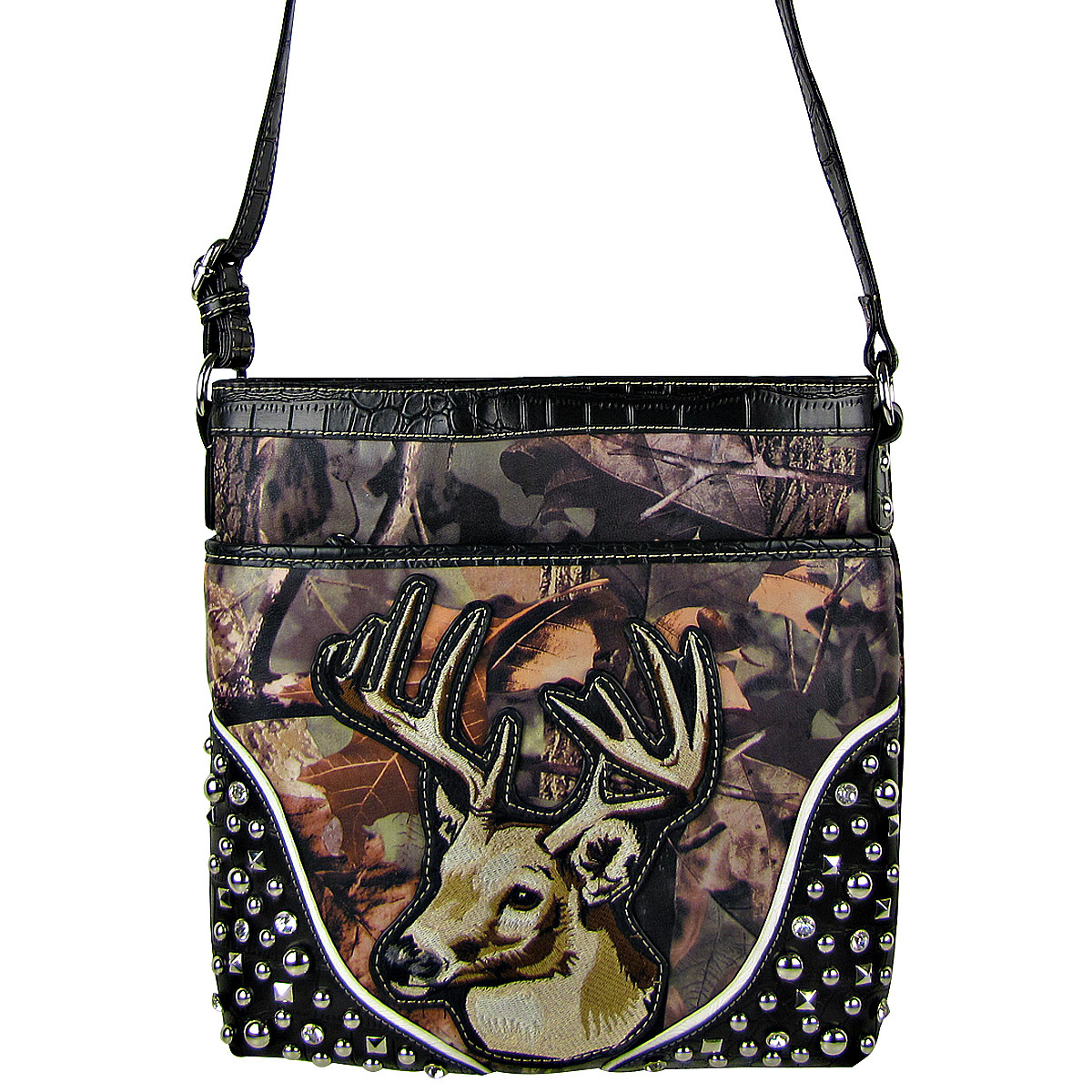BLACK CAMO STUDDED RHINESTONE STITCHED DEER LOOK MESSENGER BAG MB1-HL12960BLK