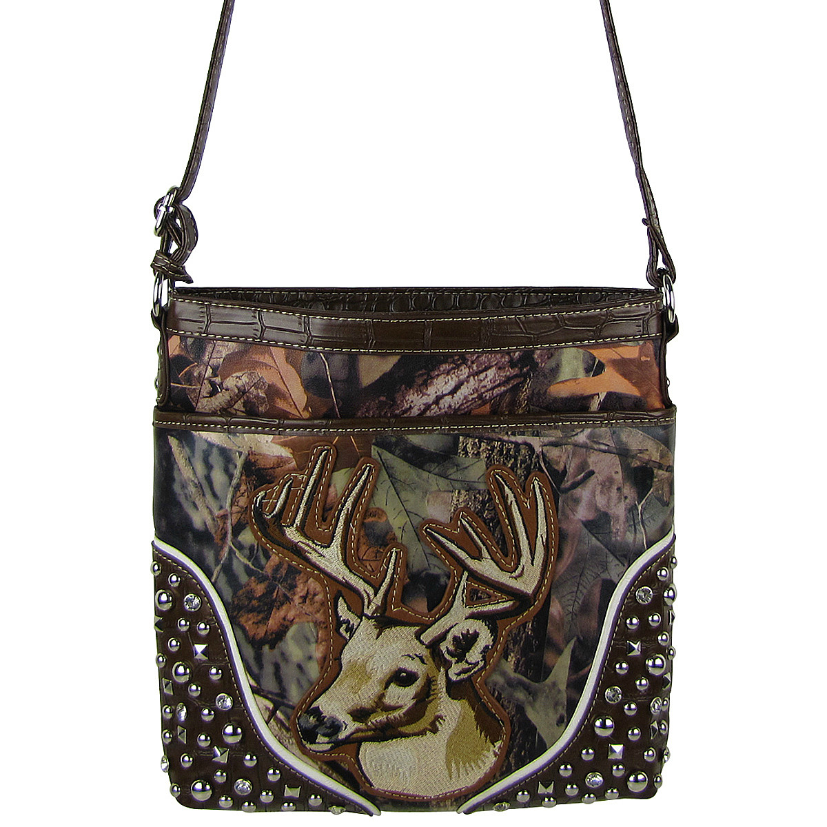 BROWN CAMO STUDDED RHINESTONE STITCHED DEER LOOK MESSENGER BAG MB1-HL12960BRN