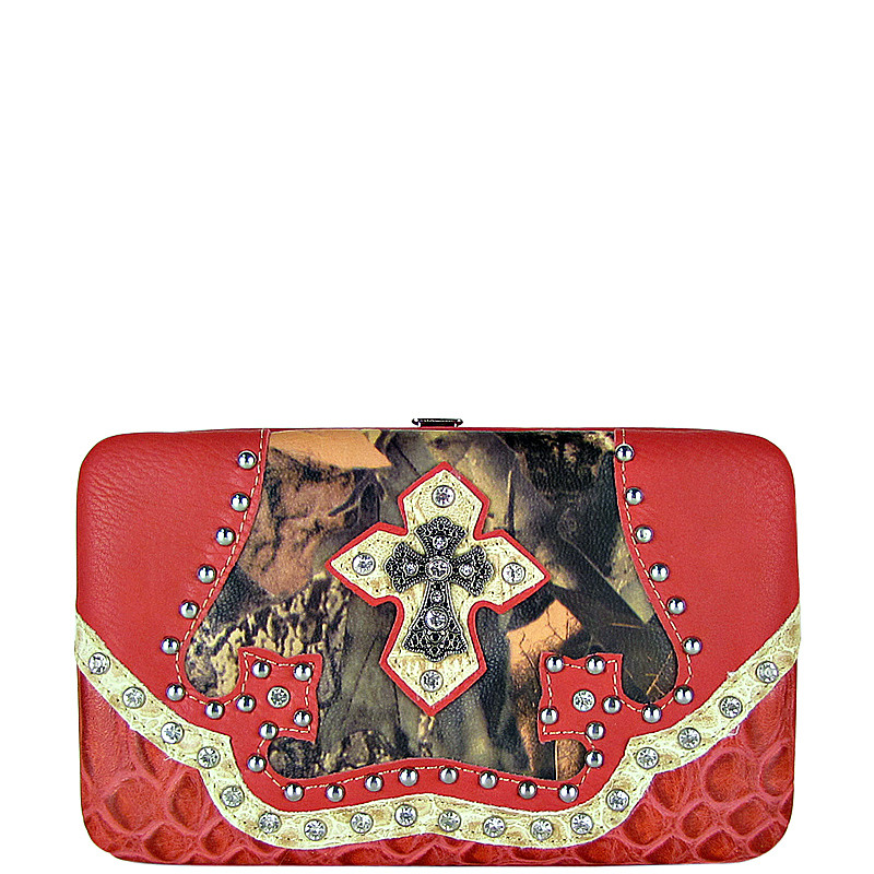 PINK MOSSY CAMO RHINESTONE CROSS LOOK THICK FLAT WALLET FW2-0455PNK