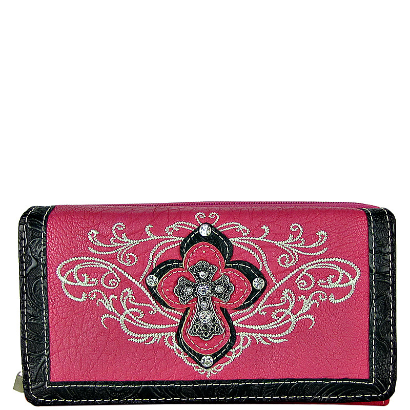 HOT PINK STUDDED RHINESTONE STITCHED CROSS LOOK CHECKBOOK WALLET CB1-0448HPK