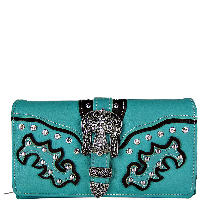 TURQUOISE STUDDED RHINESTONE CROSS BUCKLE LOOK CHECKBOOK WALLET CB1-0469TRQ