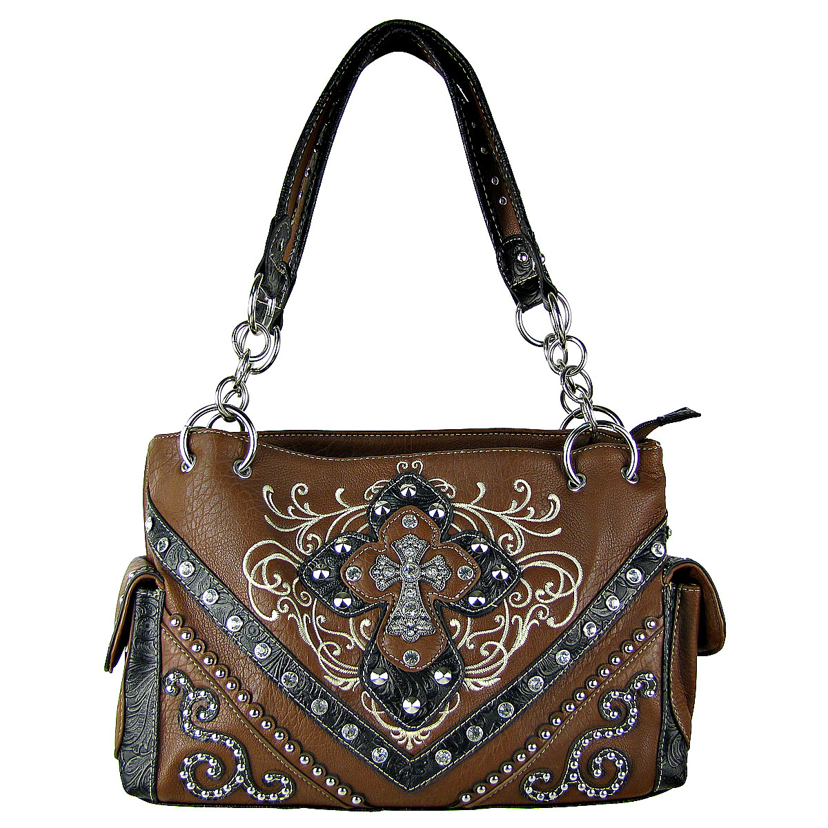 BROWN STUDDED RHINESTONE STITCHED CROSS LOOK SHOULDER HANDBAG HB1-HL12980BRN
