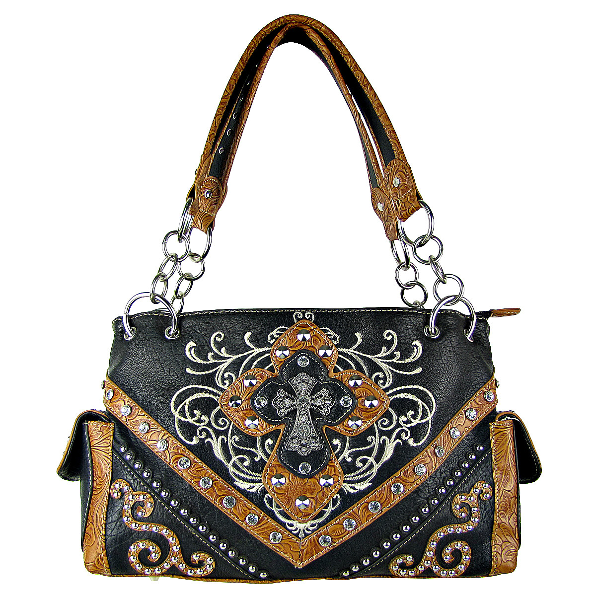 BLACK STUDDED RHINESTONE STITCHED CROSS LOOK SHOULDER HANDBAG HB1-HL12980BLK