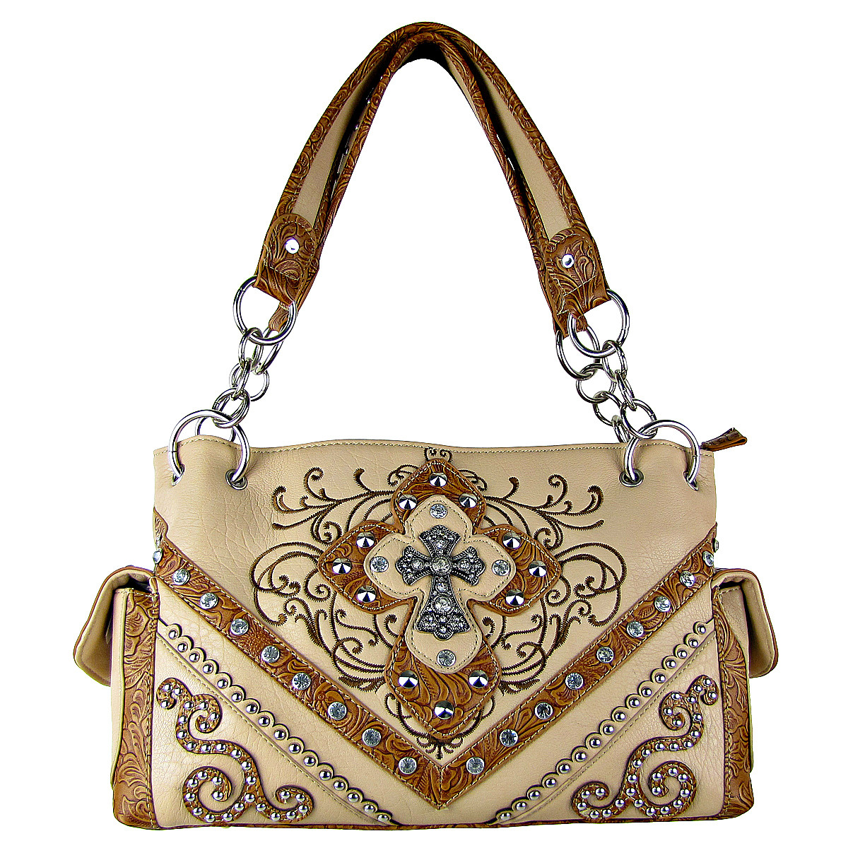 BEIGE STUDDED RHINESTONE STITCHED CROSS LOOK SHOULDER HANDBAG BEIGE STUDDED RHINESTONE STITCHED CROSS LOOK SHOULDER HANDBAG HB1-HL12980BEI