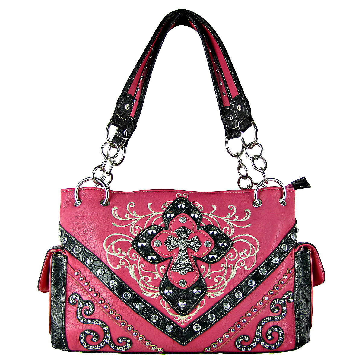 HOT PINK STUDDED RHINESTONE STITCHED CROSS LOOK SHOULDER HANDBAG HOT PINK STUDDED RHINESTONE STITCHED CROSS LOOK SHOULDER HANDBAG HB1-HL12980HPK