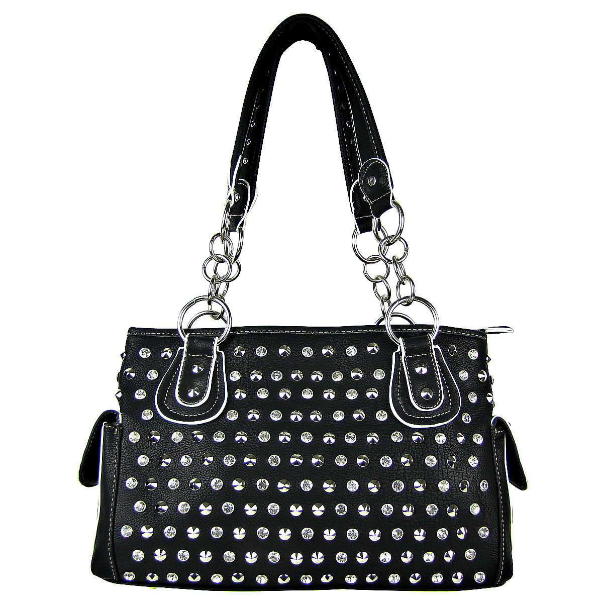 BLACK RHINESTONE STUDDED LEATHERETTE LOOK SHOULDER HANDBAG HB1-HL121590BLK