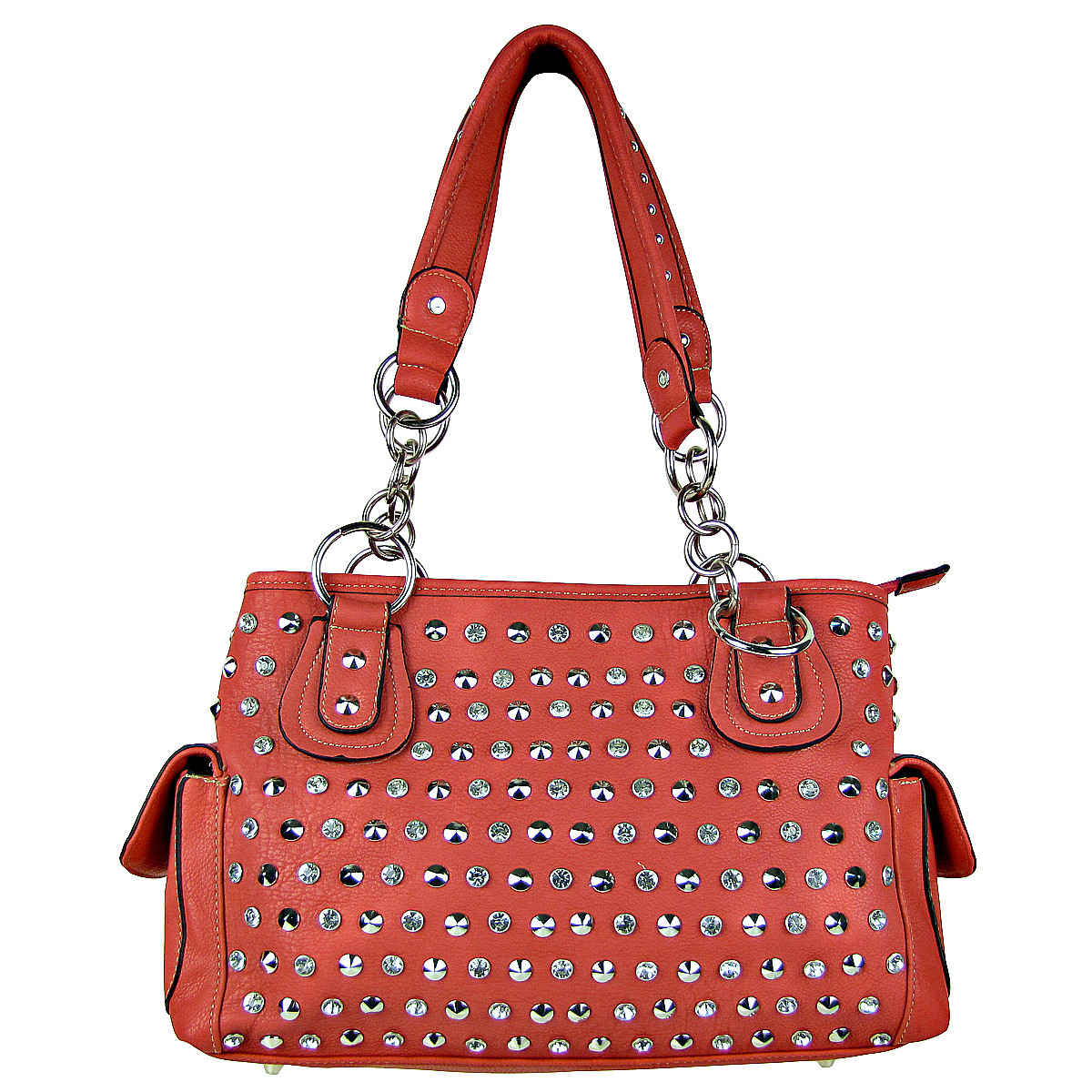 HOT PINK RHINESTONE STUDDED LEATHERETTE LOOK SHOULDER HANDBAG HB1-HL121590HPK