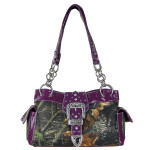 PURPLE MOSSY CAMO RHINESTONE BUCKLE SHOULDER HANDBAG HB1-C154PPL