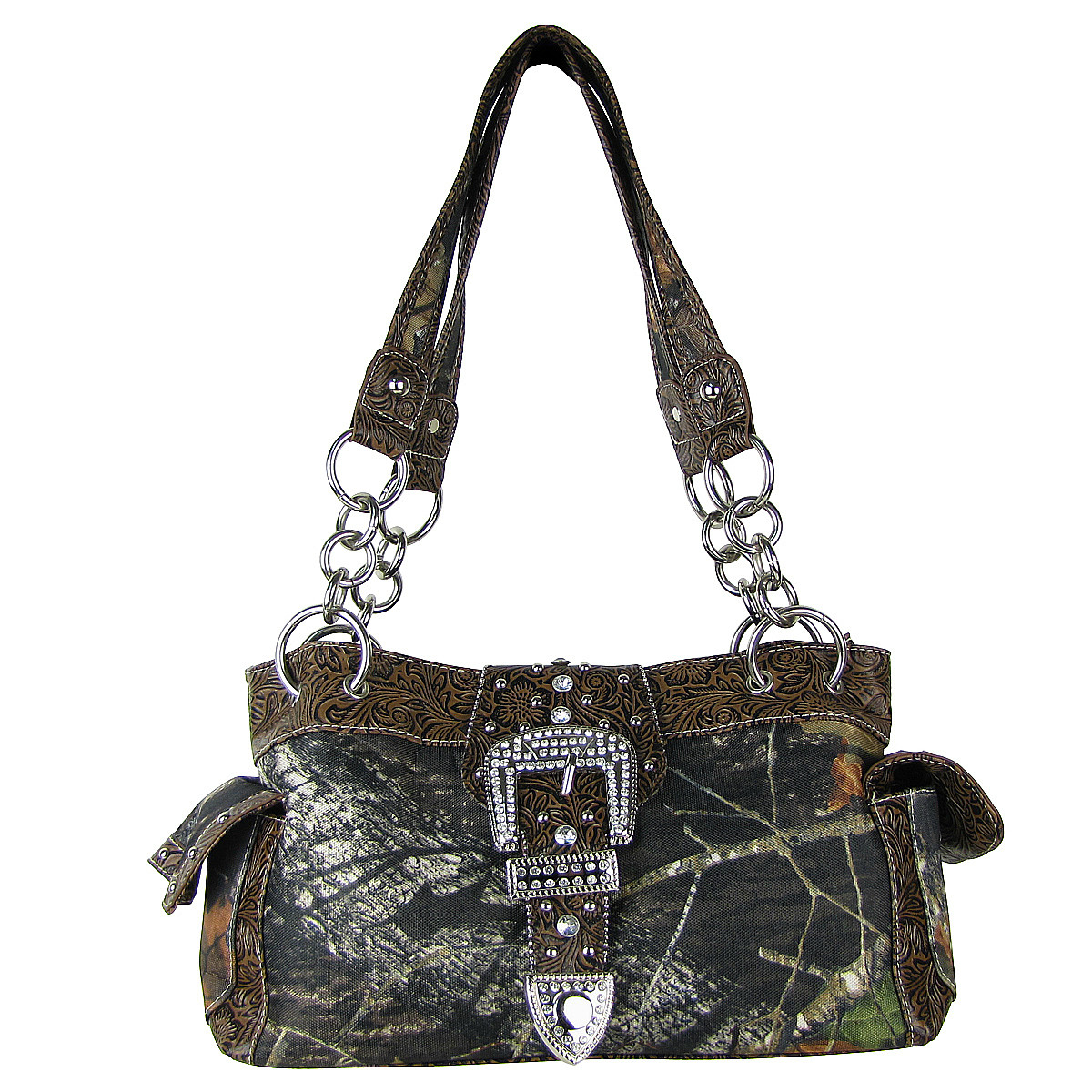 BROWN MOSSY CAMO RHINESTONE BUCKLE SHOULDER HANDBAG HB1-C154BRN