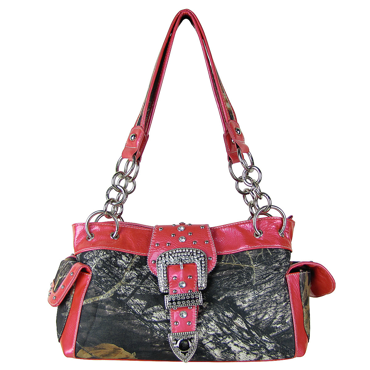 HOT PINK MOSSY CAMO RHINESTONE BUCKLE SHOULDER HANDBAG HB1-C154HPK