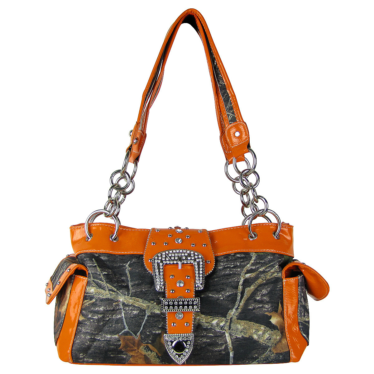 ORANGE MOSSY CAMO RHINESTONE BUCKLE SHOULDER HANDBAG HB1-C154ORG