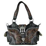 BROWN FLORAL STUDDED RHINESTONE CROSS BUCKLE LOOK SHOULDER HANDBAG HB1-RFM476BRN