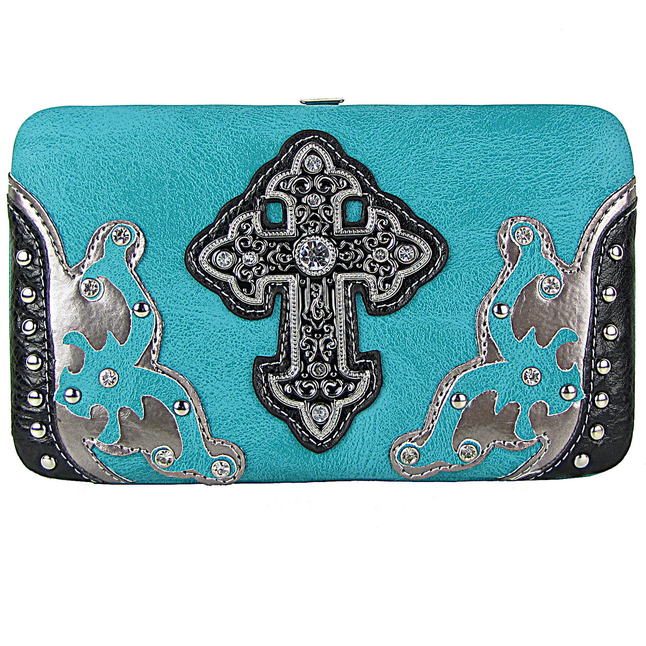 TURQUOISE STUDDED CROSS WESTERN DESIGN LOOK FLAT THICK WALLET FW2-0458TRQ