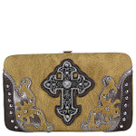 TAN STUDDED CROSS WESTERN DESIGN LOOK FLAT THICK WALLET FW2-0458TAN