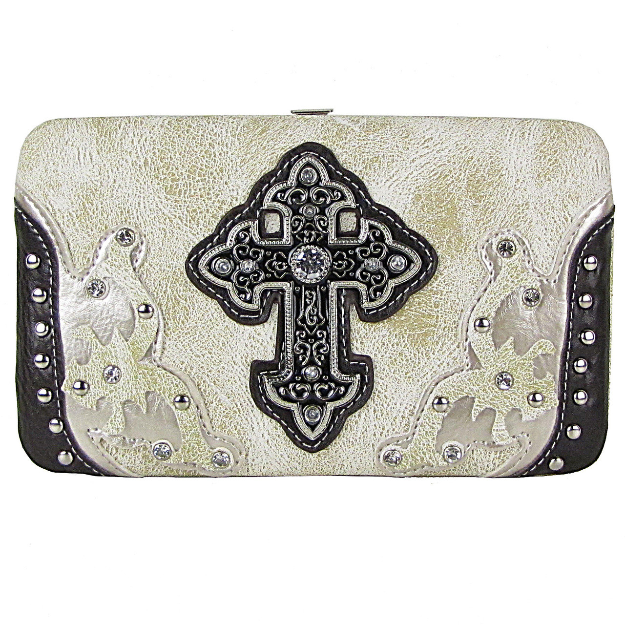 CREAM STUDDED CROSS WESTERN DESIGN LOOK FLAT THICK WALLET FW2-0458CRM