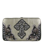 PEWTER STUDDED CROSS WESTERN DESIGN LOOK FLAT THICK WALLET FW2-0458PEW