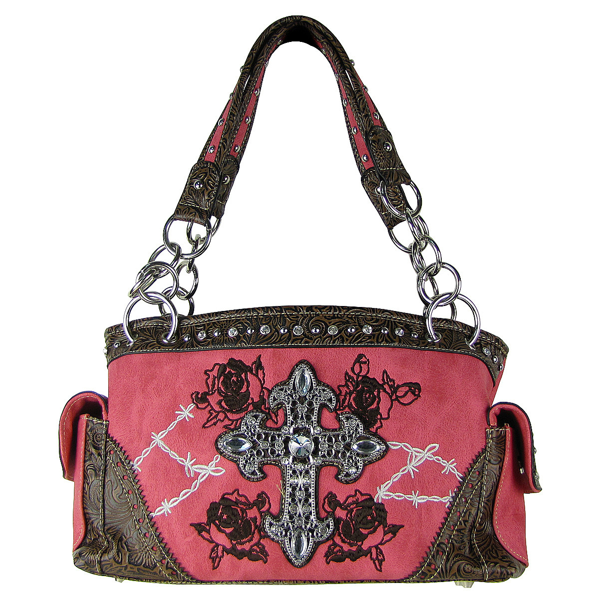 HOT PINK STITCHED WESTERN ROSE CROSS LOOK SHOULDER HANDBAG HB1-CHF0018HPK