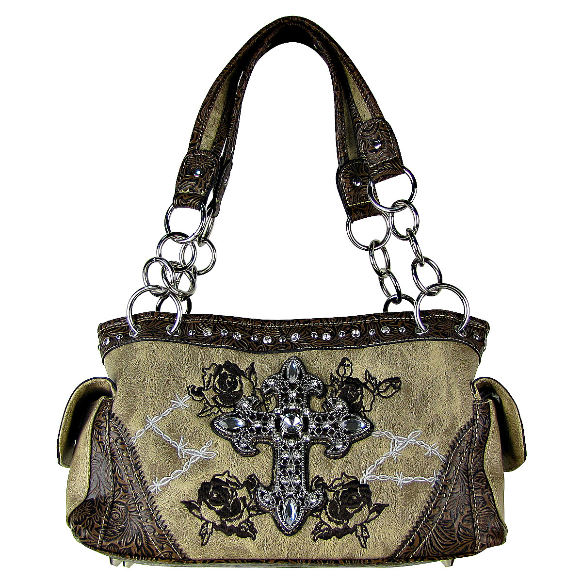 BEIGE STITCHED WESTERN ROSE CROSS LOOK SHOULDER HANDBAG HB1-CHF0018BEI