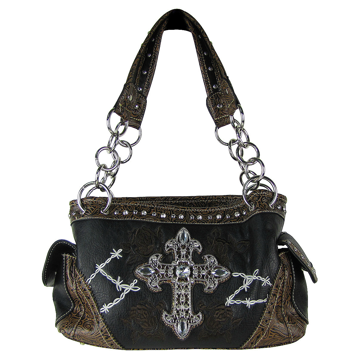 BLACK STITCHED WESTERN ROSE CROSS LOOK SHOULDER HANDBAG HB1-CHF0018BLK