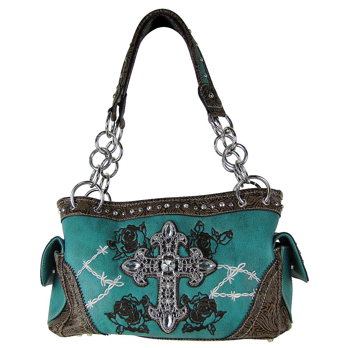 TURQUOISE STITCHED WESTERN ROSE CROSS LOOK SHOULDER HANDBAG HB1-CHF0018TRQ