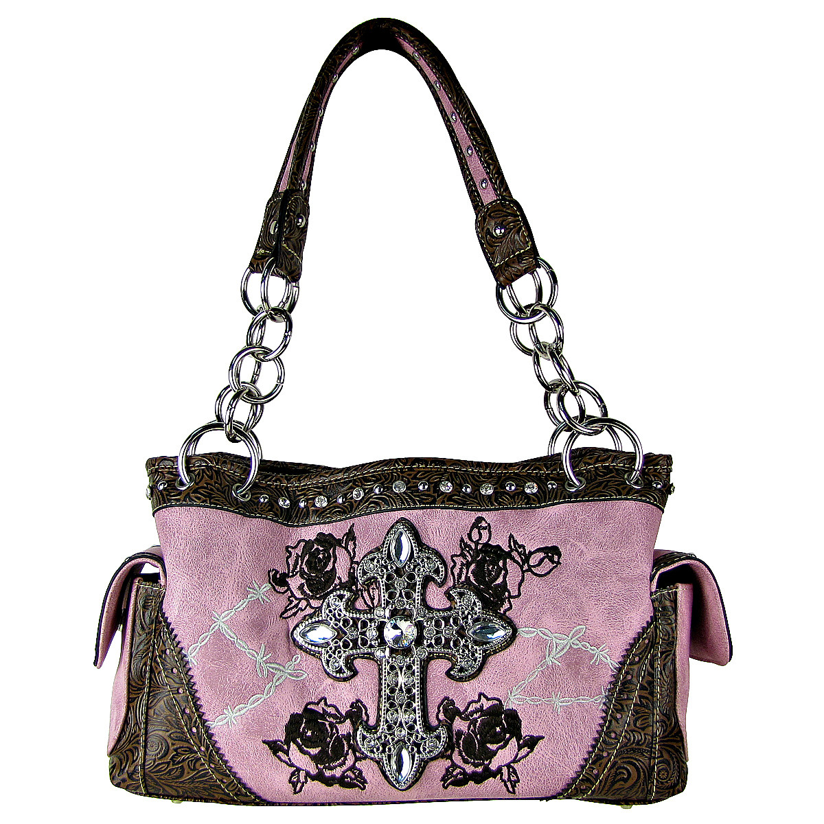 LIGHT PINK STITCHED WESTERN ROSE CROSS LOOK SHOULDER HANDBAG HB1-CHF0018LPK