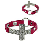 HOT PINK CROSS LEATHERETTE BAND LOOK BRACELET BR1-0415HPK