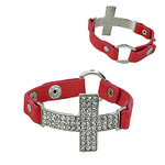 CORAL CROSS LEATHERETTE BAND LOOK BRACELET BR1-0415COR
