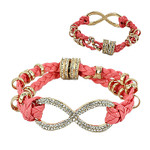 CORAL GOLD INFINITY LEATHERETTE BAND LOOK BRACELET BR1-0122COR