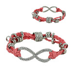 CORAL SILVER INFINITY LEATHERETTE BAND LOOK BRACELET BR1-0123COR