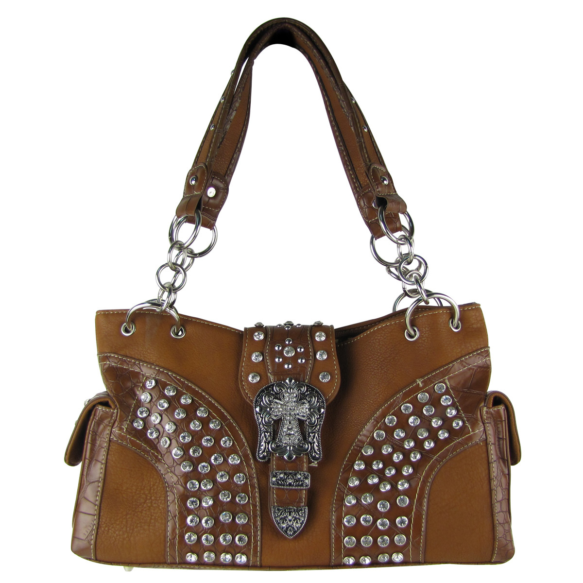 BROWN STUDDED RHINESTONE CROSS BUCKLE SHOULDER HANDBAG HB1-HL12150BRN