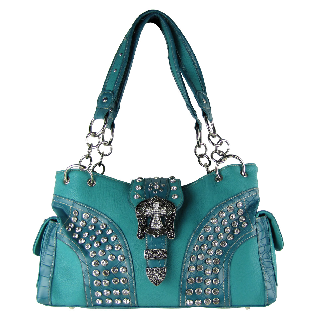 TURQUOISE STUDDED RHINESTONE CROSS BUCKLE SHOULDER HANDBAG HB1-HL12150TRQ