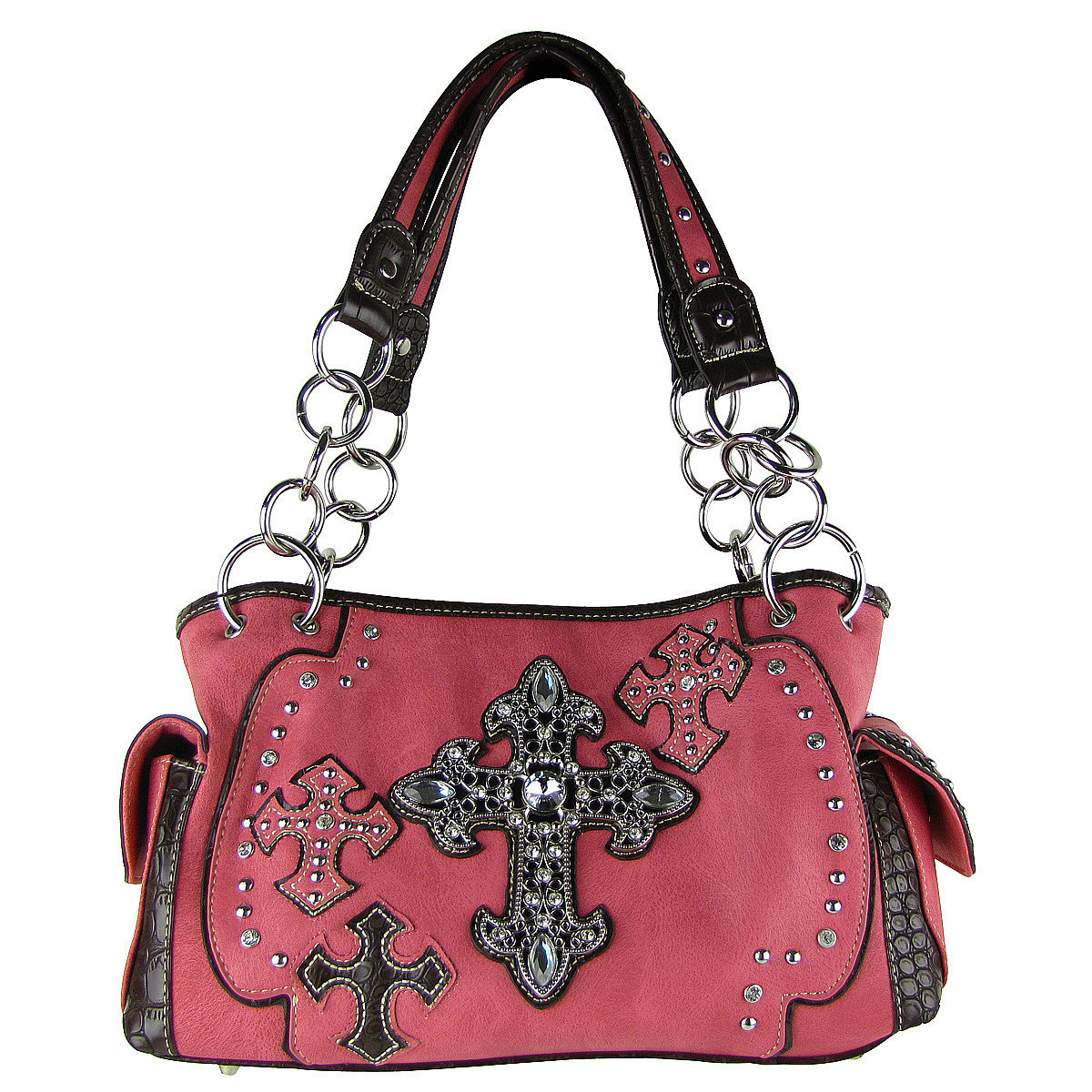 HOT PINK WESTERN CROSSES LOOK SHOULDER HANDBAG HB1-CHF0016HPK