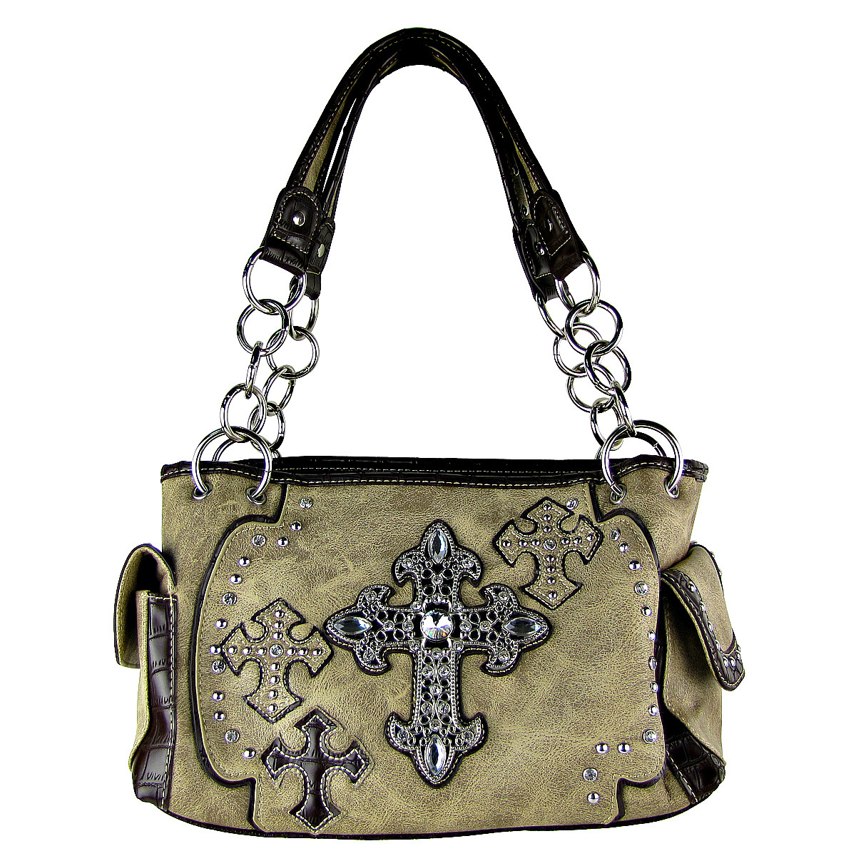 BEIGE WESTERN CROSSES LOOK SHOULDER HANDBAG HB1-CHF0016BEI