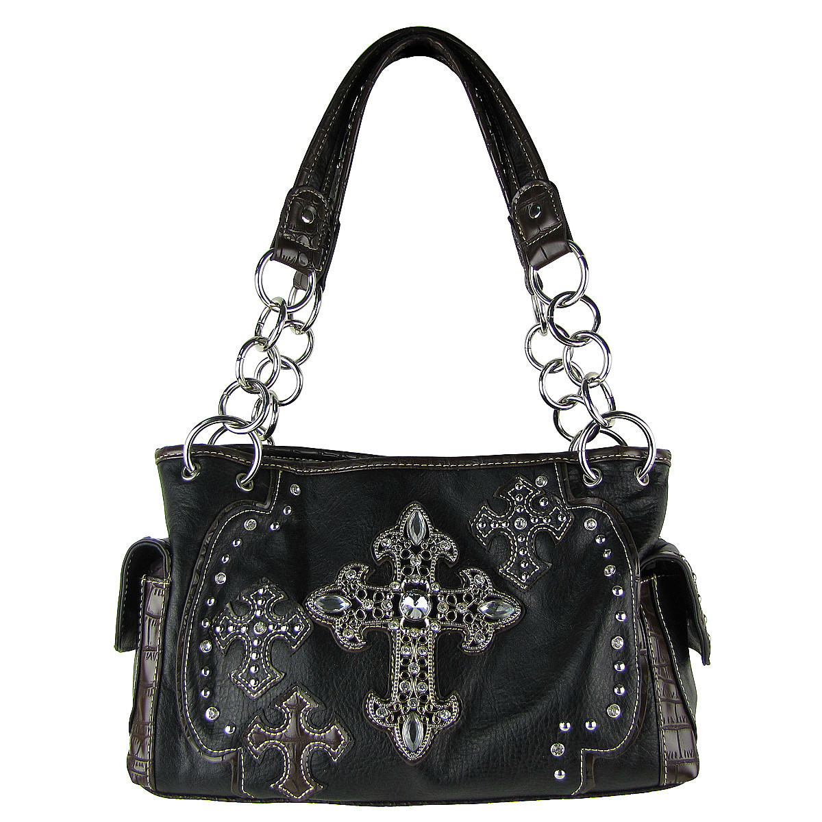 BLACK WESTERN CROSSES LOOK SHOULDER HANDBAG HB1-CHF0016BLK