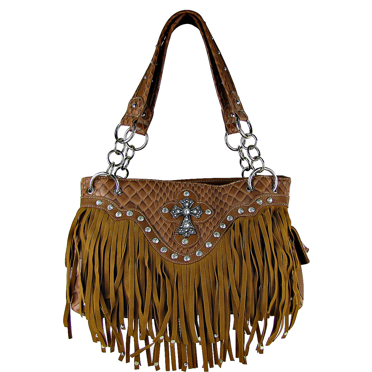 BROWN RHINESTONE CROSS FRINGE SHOULDER HANDBAG HB1-HL12164BRN