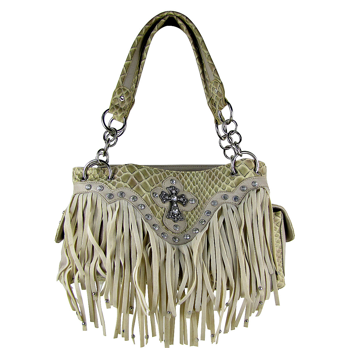 BEIGE RHINESTONE CROSS FRINGE SHOULDER HANDBAG BEIGE RHINESTONE CROSS FRINGE SHOULDER HANDBAG HB1-HL12164BEI