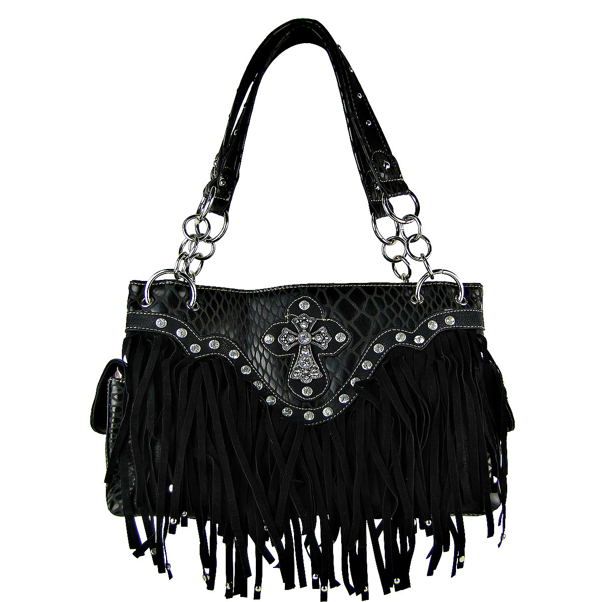 BLACK RHINESTONE CROSS FRINGE SHOULDER HANDBAG HB1-HL12164BLK