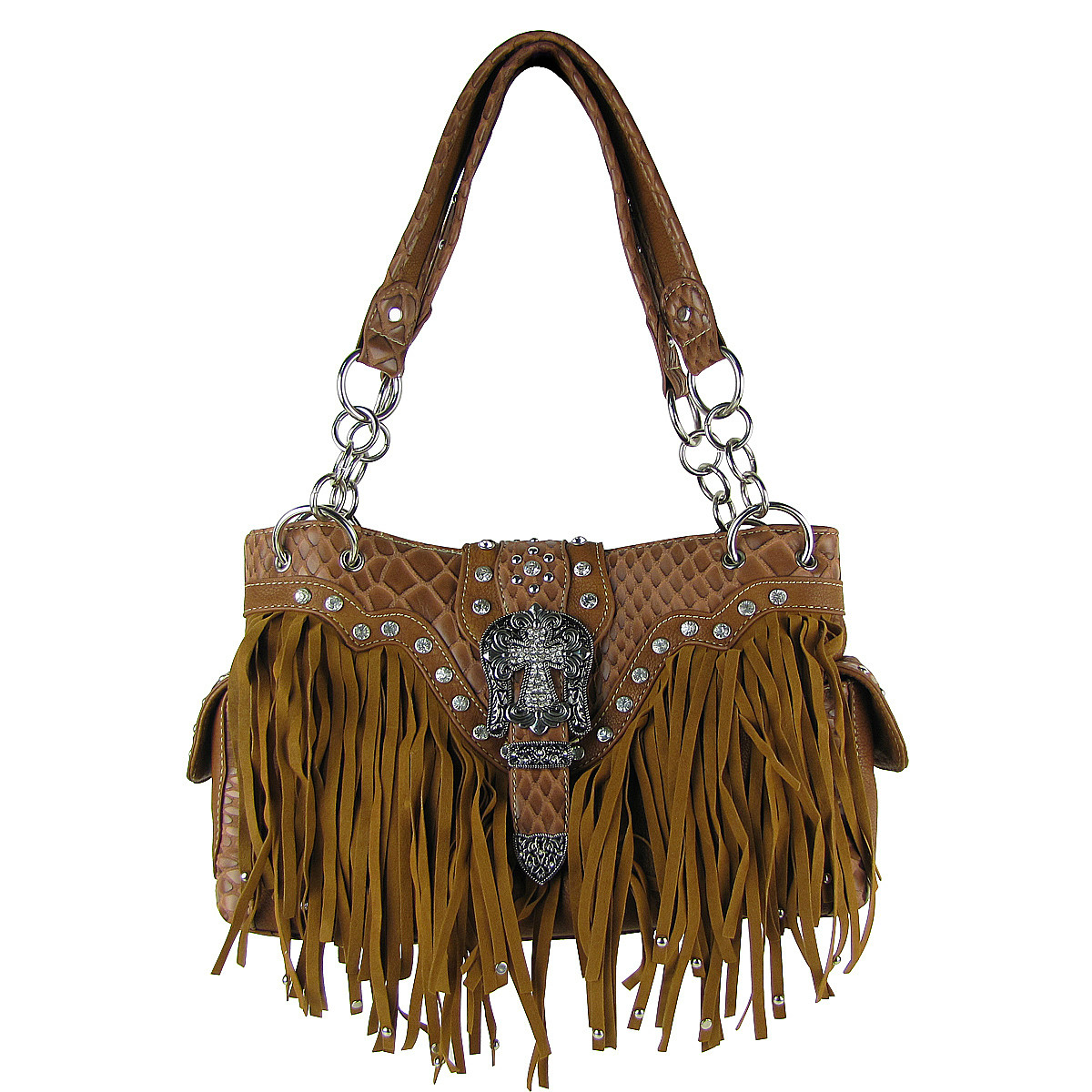 BROWN RHINESTONE BUCKLE CROSS FRINGE SHOULDER HANDBAG HB1-HL12164-1BRN