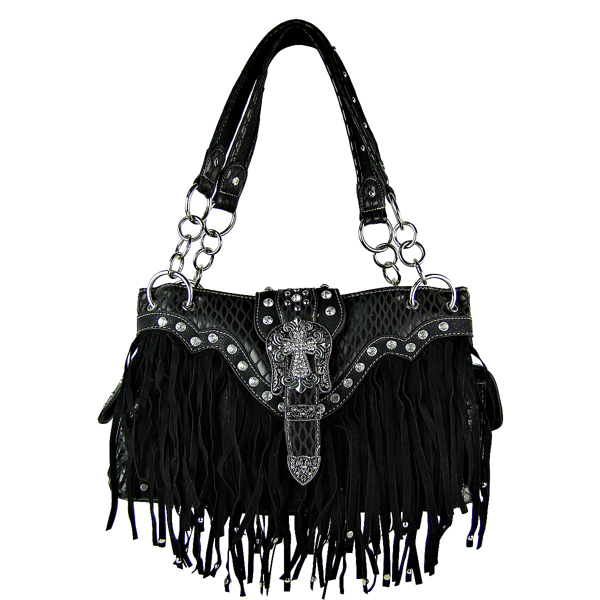 BLACK RHINESTONE BUCKLE CROSS FRINGE SHOULDER HANDBAG HB1-HL12164-1BLK