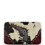 RED PISTOL COW PRINT FLAT THICK WALLET FW2-1205RED