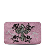 LIGHT PINK RHINESTONE CROSS WESTERN ROSE STITCH FLAT THICK WALLET FW2-0469LPK