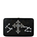 BLACK RHINESTONE CROSS WESTERN ROSE STITCH FLAT THICK WALLET FW2-0469BLK