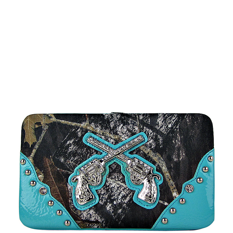 TURQUOISE MOSSY CAMO PISTOL LOOK FLAT THICK WALLET FW2-1203TRQ