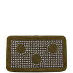 BROWN STUDDED RHINESTONE CIRCLE DESIGN LOOK FLAT THICK WALLET FW2-1284BRN