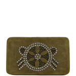 BROWN STUDDED RHINESTONE DESIGN LOOK FLAT THICK WALLET FW2-1283BRN